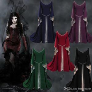 Progettista delle donne Medioevo Dress Europa e stili americani Nobiltà vestito delle signore Flutter manica Fashion Clothes