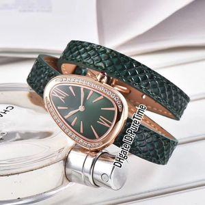 Best Edition 102918 SPP27C9PGDL Розовое золото с бриллиантами Рамка с зеленым циферблатом Швейцарские кварцевые женские часы Зеленый кожаный ремешок из сапфирового стекла E02b2