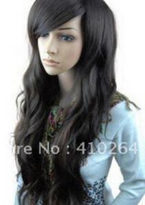 GRÁTIS SHIPPIN + ++ Sexy belle femme noir longue perruques \ peruca