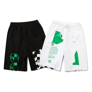 2020 summer tide brand off fluorescent green printing arrow white five-point pants OW men and women loose casual shorts