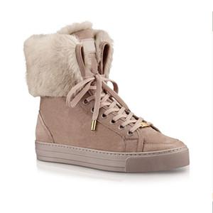 2020 invierno botas de diseñador de las mujeres de cuero botas de nieve de ternera y conejo de arranque tobillo de la piel de calidad superior de las botas de piel de lujo zapatilla de deporte