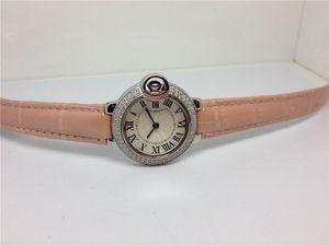 Casual Orologi della signora Ginevra autentico orologio di lusso del quarzo dell'acciaio inossidabile per la donna femminile orologio da polso cinturino in pelle rosa 073