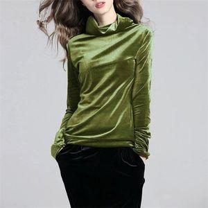 Fashion 2017 Autumn Winter Large Size M-5XL 6XL 7XL Gold Velvet Shirt Woman Casual High Collar Pure Slimming Tops Female Velour