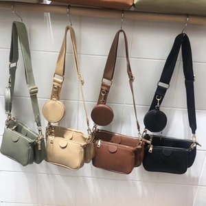 Fashion Solid Color PU Leather Shoulder Messenger Bag Casual Crossbody Bags Women Handbags Totes Bag 3 Sets Evening Clutch Purse Y200512