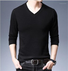 Solid Color Sweaters V Neck Long Sleeve Slim Pullover Outwear Brief High Quality Mens Spring Autunmn Clothing Autumn Mens