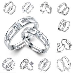 Yüzük Gümüş Çift yüzükler için Severler Sıcak Satış Kristal Takılar Çift Band Yüzükler Parti Hediye Takı Toptan Ücretsiz Kargo 0193WH