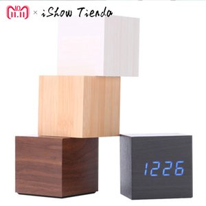 Multicolor Sounds Control Wooden Clock New Modern Wood Digital LED Desk Alarm Clock Thermometer Timer Calendar Table Decor