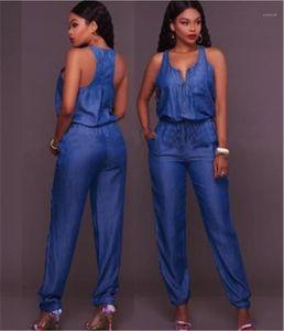 New Waist Vest Rompers Summer Female Wide-leg Jeans Jumpsuits Clothing Fashion Slim Casual Women Jumpsuit Designer