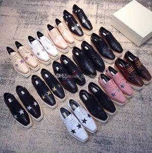 Stella Mccartney Frauen Fashion Star Schuhe Real Wood Echt Keil Kuh-Leder-Elyse Turnschuhe beste Qualität