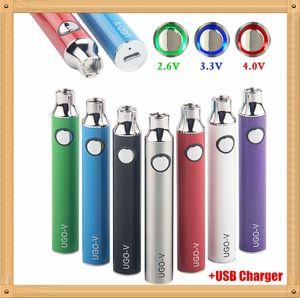 MOQ 1Pcs Preheat UGO-V 100% Original 650 900 mAh Battery Ego EVOD Variable Voltage Micro USB Passthrough Bottom Charge 510 Vape E Cigarette