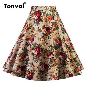 Tonval une ligne Vintage Floral Jupe Zipper Retour Pin Up Rockabilly Coton Swing Jupes Femmes Rétro Skater Midi Jupe Y19043002