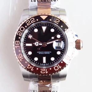 40MM Dial Negro Automático Hombres de Alto Grado Relojes de pulsera Para Hombre Con Pulsera de Acero Inoxidable de Dos Tonos de Oro Rosa y Marcadores de Hora de Punto
