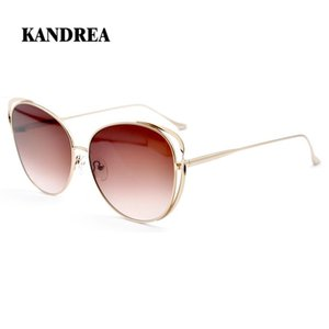 Kandrea 2020 Fashion Women Cat Ear Sunglasses Metal Cat Eye Big Frame Glasses Rose Gold Driving Eyeglasses Full Frame Goggles bCZlz