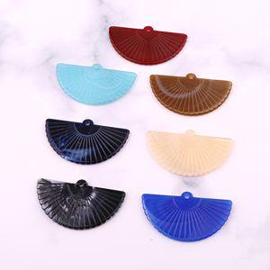6pcs Retro Fan-forme Big boucles d'oreilles en résine Charms résultats funiculaires Diy cheveux Keychain Bracelet Artisanat Accessoires de Bijoux Faire