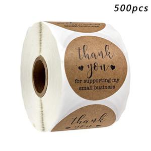 500PCS Ronda de papel Kraft Tag gracias por apoyar a negocios de pegatinas del sello Mi pequeña etiqueta de Navidad etiqueta engomada de DIY engomadas del regalo