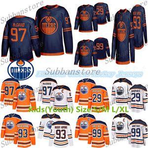 2019-2020 Edmonton Oilers niños (juventud) jerseys 97 Connor McDavid 99 Wayne Gretzky 29 Leon Draisaitl 93 Ryan Nugent-Hopkins jerseys del hockey