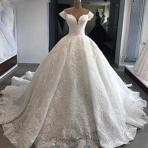 2020 Sweetheart Neckline Luxury Ball Gown Wedding Dress With Delicate Appliques Off The Shoulder Bridal Gowns