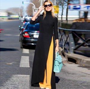 mode reine farbe damenbekleidung kleid nahen osten frühling hülsenkopf longuette stricken elastische kraft große code rock moslemische kleider