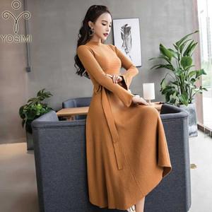 Abito Donne lungo YOSIMI 2019 Autunno Inverno Maxi stand-collo elasticità vestito dal maglione femminile Vestiti manicotto pieno caviglia