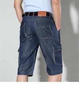 Синие джинсы лето шорты мужские Средние талии до колен Негабаритных Casual Mens Дизайнерских шорт Straight Extended Коротких штанов