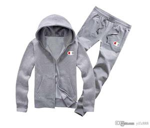 2019 Nouvelle veste à capuche pull + joggeurs pantalons de survêtement d'hiver d'automne à capuche hip-hop de survêtements d'impression homme
