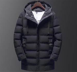 Kış Kapüşonlu Düz Renk Mens Aşağı Nedensel Kalın Erkek Ceket Mens Orta Uzun Parkas Ile Şapka Moda Erkek Giyim