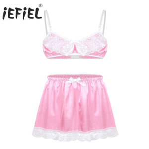 iEFiEL Mulheres Lace Sissy Femininas Set Lingerie Babydoll Deslize Hommes Spaghetti Bra Top com Short Skirt Gay Sexy Underwear