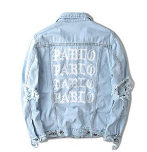 Newest Kanye West Denim Jacket I FEEL LIKE PABLO oversized Jacket men and women hip hop fear of god broken hole jean coat