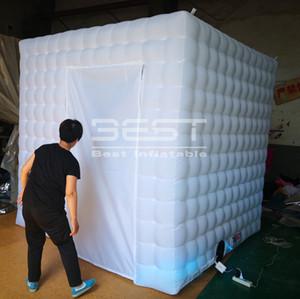 Caliente-venta inflable portátil foto recinto de cabina de la boda llevado barato blanco cabina de fotos inflable llevó la luz carpa inflable cabina de fotos