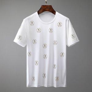 2020 summer Italian men's T-shirt high-quality men's and women's same hair stylist short-sleeved bone head diamond sequins pattern T-shirt