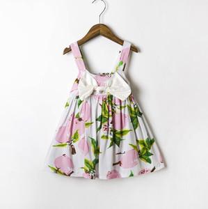 2020new children's wear summer new Korean lemon print Princess children's skirt big bow suspender dress wholesale