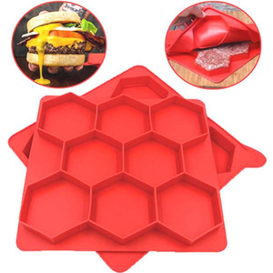 Hamburger Press Mold Red Silicone Meat Burger Press Maker Freezer Container Barbecue Baking Moulds Kitchen Tools 50pcs
