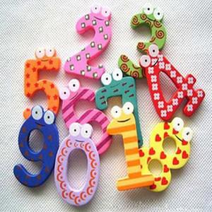 10 أجزاء عدد 0-9 أرقام خشبية مغناطيس الثلاجة الاطفال الرياضيات ألعاب الكرتون الحيوان عدد التعليمية تعلم لعب للطفل هدية