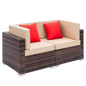 2ST Außen Allwetter-Freizeitmöbel Set Brown Gradient Weben Rattan Sofa Sectional Sofa mit Kissen PE Rattan Fully Sofa Ausgerüstet