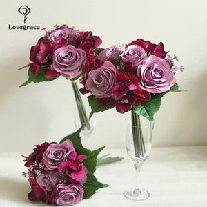 LoveGrace boda del ramo de rosas Hortensia damas de honor ramo de novia de flores artificiales Borgoña matrimonio decoración del hogar Flor CJ191223