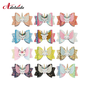 3inch Sequined Rainbow Bow Hair Clip Unicorn Hair Bow Girls Princess Hairgrips for Kids Party Accessories 8pcs Lot