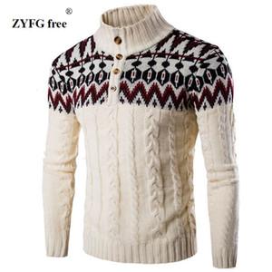 ZYFG libre de invierno caliente grueso suéter de cachemira hombres de pie cuello para hombre Slim Fit suéteres Pullover Hombres camiseta clásica de lana Prendas de punto Tire Homme V191118