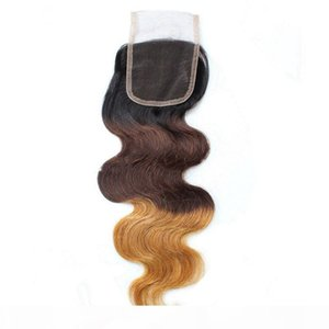 Brazilian Body Wave Ombre T1B 4 27 Lace Closure Baby Hair Middle part Free part 3 Part Lace Top Closure