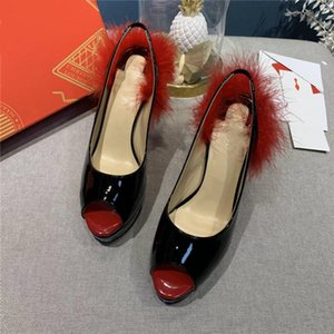 Womens classic patent leather high heels, red nude patent leather stiletto sandals, heel height 12.5 cm With box size 34-41