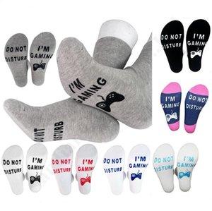 Letras Imprimir No molestar ESTOY DE JUEGO calcetines cortos de algodón causal de la rodilla-Medias Altas Medio corto calcetines de hombre tobillo de las mujeres del calcetín A121101
