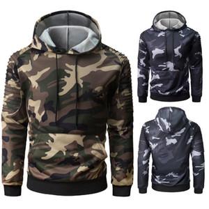 Moda camuflaje con capucha de los hombres otoño invierno camiseta de manga larga de Hip Hop Casual Sudaderas Hombre de camuflaje con capucha más el tamaño 3XL