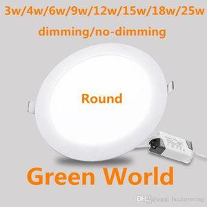 Dimming / NO-Dimming Ultra Throw Round Panel Panel Panel Light Downlight LED Soffitto 3W / 4W / 6W / 9 / 12W / 15W / 18W / 25W Plafoniera arrotondata AC85-265V Pannello