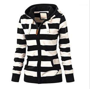 Manches longues Zipper Hoodies mode couleur naturelle Sweats à capuche Femmes Vêtements pour femmes Designer rayées Imprimer Hoodies Casual
