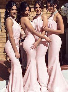 2020 Blush Pink Beaded Mermaid Bridesmaid Dress Sexy Halter Back Back Sheath Wedding Guest Gown Elegante Prom Vestidos de fiesta de noche BM0201