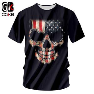 OGKB New Cool Impression drapeau américain 3d T-shirt pour les hommes / femmes crâne T-shirt Casual Homme Hiphop Punk O Neck T-shirt 7XL