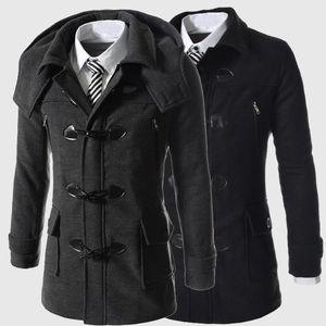 Invierno de alta calidad de los hombres de lana abrigos Horn botón casual abrigo de la moda abrigo de lana para hombre de la chaqueta rompevientos para hombre Chaquetón SA-8