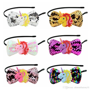 Crianças unicórnias lantejoulas headband cabelo fecho dos desenhos animados acessórios de cabelo curva 6 cores festa de halloween cosplay presente de natal faixa de cabelo