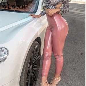 WLWXR Осень Зима искусственная кожа брюки женщины дамы брюки 2019 Высокая талия узкие брюки женский черный розовый красный Sexy Bodycon