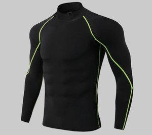 Men's high neck fitness long sleeve pro sports running long sleeve T-shirt spring quick drying vertical collar