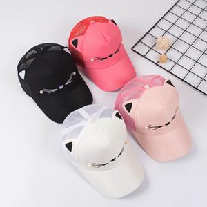 Snapback de los oídos de gato gorras 2020 Marca encantador del gorra de regalo ajustable niña de malla rosa Adult Net gorra de béisbol de verano para mujeres